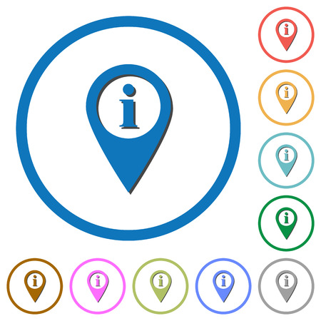 labeling: GPS map location information flat color vector icons with shadows in round outlines on white background Illustration