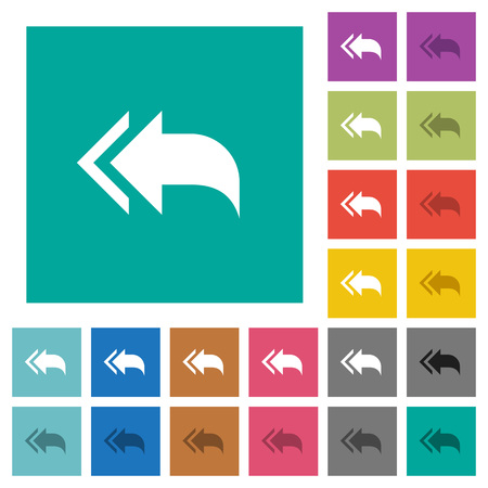 Reply to all recipients multi colored flat icons on plain square backgrounds. Included white and darker icon variations for hover or active effects. Illustration
