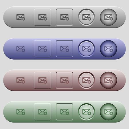 unsolicited: Spam mail icons on rounded horizontal menu bars in different colors and button styles Illustration