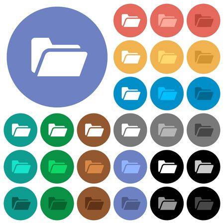 Folder open multi colored flat icons on round backgrounds. Included white, light and dark icon variations for hover and active status effects, and bonus shades on black backgounds. Illustration