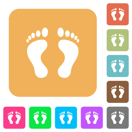 sports application: Human Footprints flat icons on rounded square vivid color backgrounds. Illustration