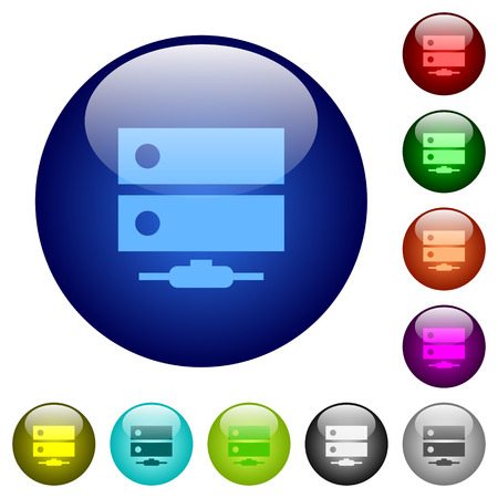 Network drive icons on round color glass buttons