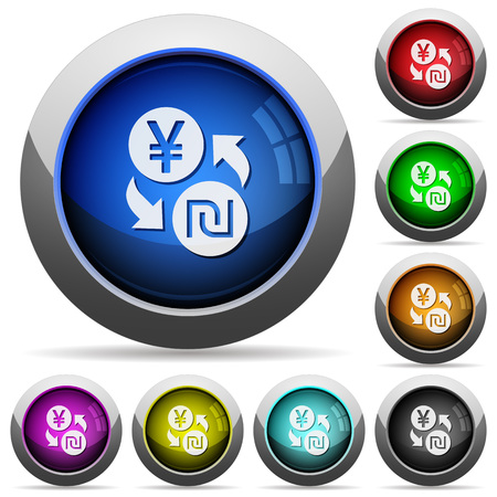 yen: Yen new Shekel money exchange icons in round glossy buttons with steel frames Illustration