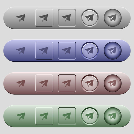 Paper plane icons on rounded horizontal menu bars in different colors and button styles 向量圖像
