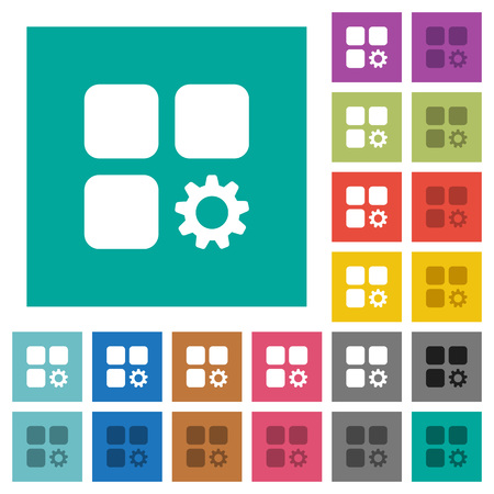 Component settings multi colored flat icons on plain square backgrounds. Illusztráció