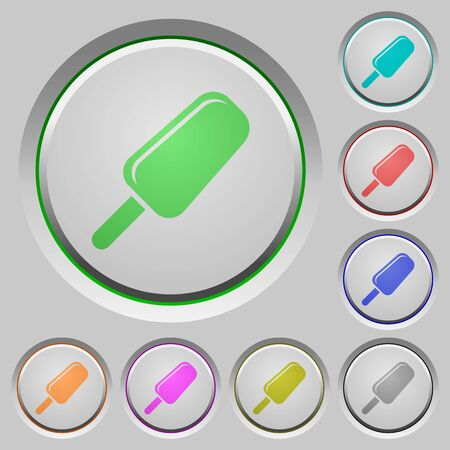 Ice lolly color icons on sunk push buttons Illustration