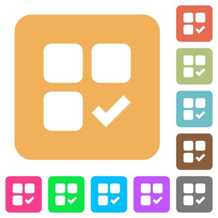 Component ok flat icons on rounded square vivid color backgrounds. Illusztráció