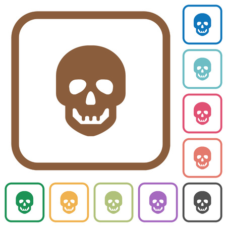 Human skull simple icons in color rounded square frames on white background Ilustracja