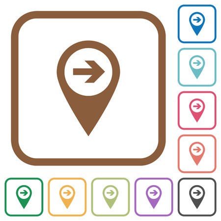 Next target GPS map location simple icons in color rounded square frames on white background