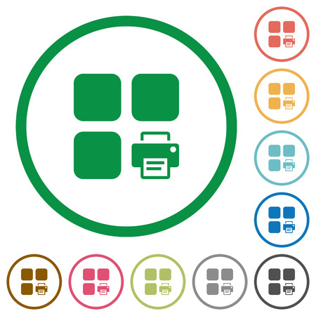 matching: Print component flat color icons in round outlines on white background