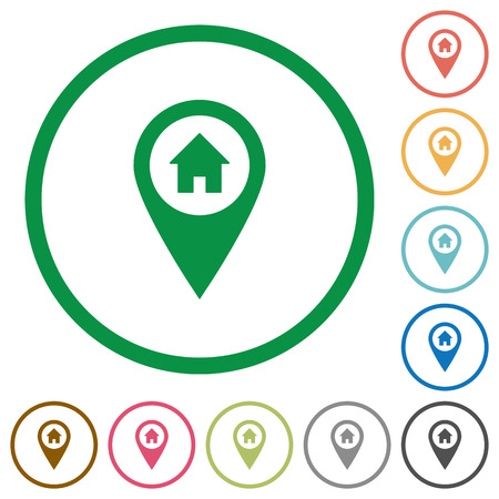 Home address GPS map location flat color icons in round outlines on white background