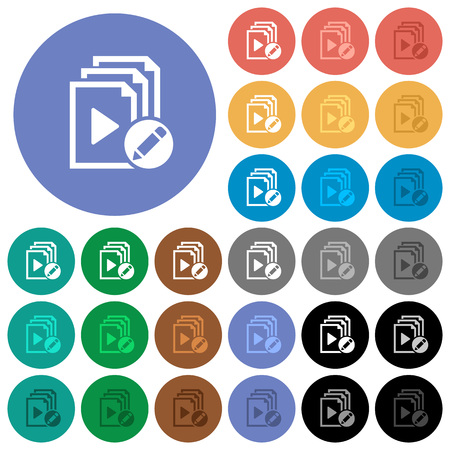 polychrome: Rename playlist multi colored flat icons on round backgrounds. Included white, light and dark icon variations for hover and active status effects, and bonus shades on black backgounds. Illustration