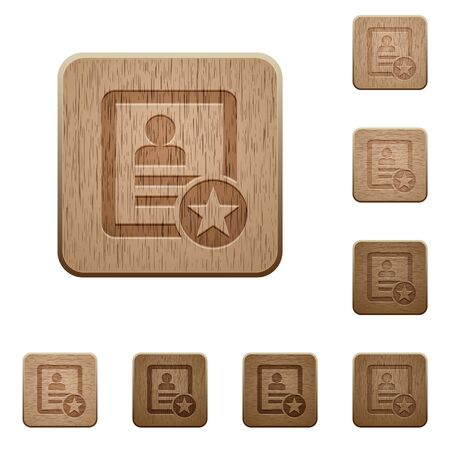 Marked contact on rounded square carved wooden button styles Ilustracja