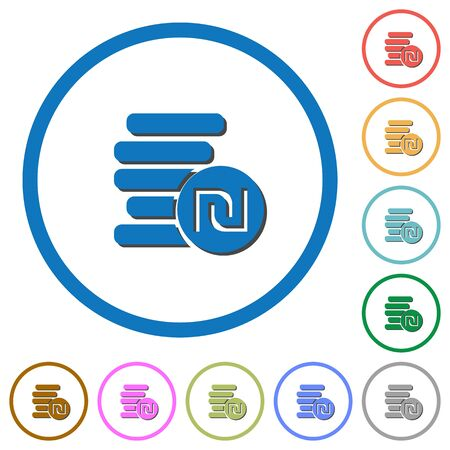 israeli: Israeli new Shekel coins flat color vector icons with shadows in round outlines on white background