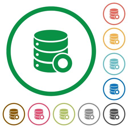 Database macro record flat color icons in round outlines on white background Çizim