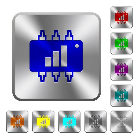 microprocessor: Hardware acceleration engraved icons on rounded square glossy steel buttons