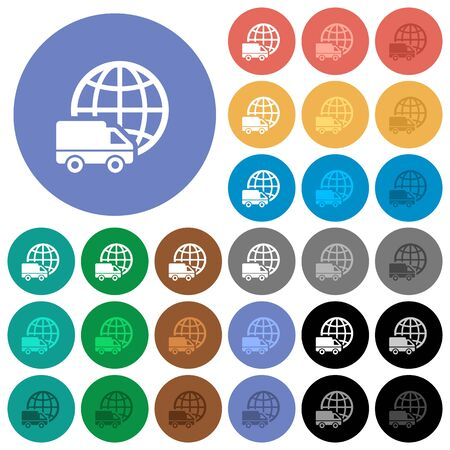 International transport multi colored flat icons on round backgrounds. Included white, light and dark icon variations for hover and active status effects, and bonus shades on black backgounds.
