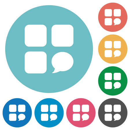 Message component flat white icons on round color backgrounds