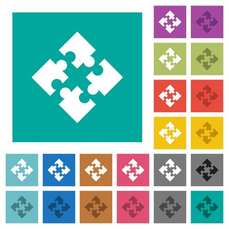 Modules multi colored flat icons on plain square backgrounds. Included white and darker icon variations for hover or active effects.