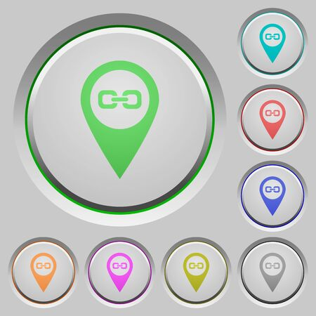 labeling: Link GPS map location color icons on sunk push buttons Illustration