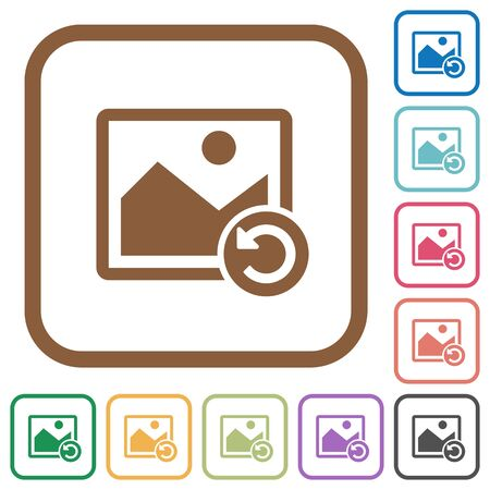 Image rotate left simple icons in color rounded square frames on white background