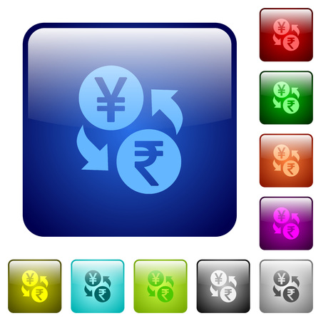 japanese yen: Yen Rupee money exchange icons in rounded square color glossy button set