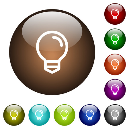 businessperson: Light bulb white icons on round color glass buttons