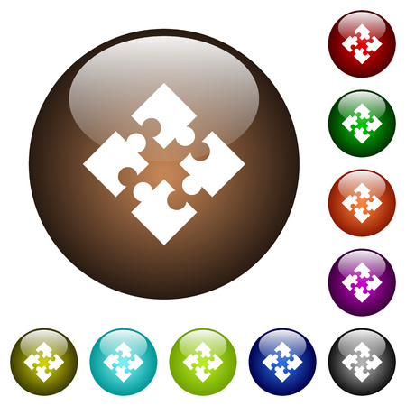 Modules white icons on round color glass buttons Illustration