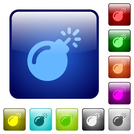 Bomb with sparkling fuse icons in rounded square color glossy button set