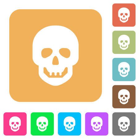 Human skull flat icons on rounded square vivid color backgrounds.