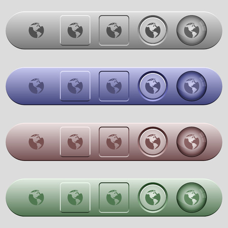 Earth icons on rounded horizontal menu bars in different colors and button styles 向量圖像