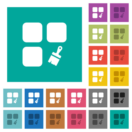Component paste multi colored flat icons on plain square backgrounds. Included white and darker icon variations for hover or active effects.