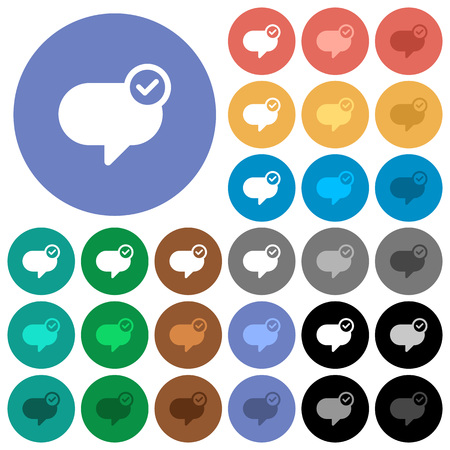 Message sent multi colored flat icons on round backgrounds. Included white, light and dark icon variations for hover and active status effects, and bonus shades on black backgounds. Illustration