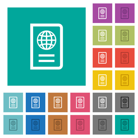 documentation: Passport multi colored flat icons on plain square backgrounds. Included white and darker icon variations for hover or active effects. Illustration