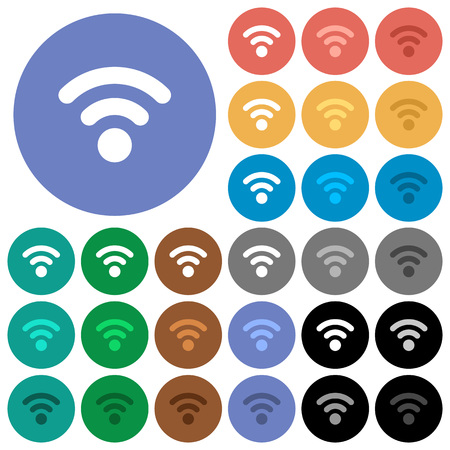 attenuation: Radio signal multi colored flat icons on round backgrounds. Included white, light and dark icon variations for hover and active status effects, and bonus shades on black backgounds. Illustration