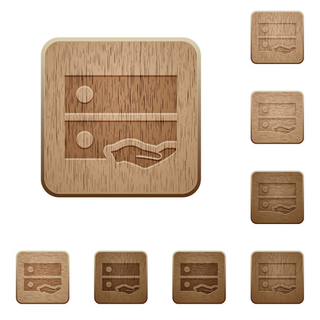 hand carved: Shared drive on rounded square carved wooden button styles