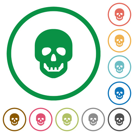Human skull flat color icons in round outlines on white background