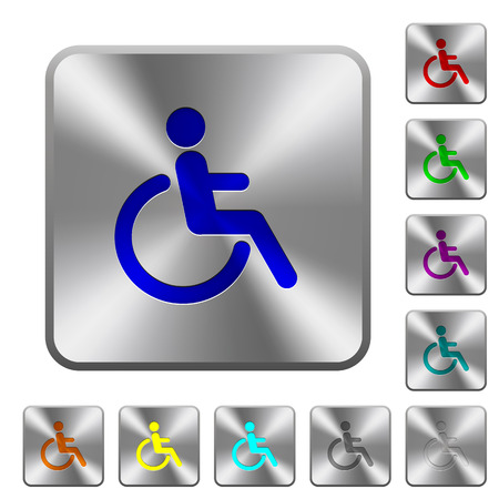 Disability engraved icons on rounded square glossy steel buttons