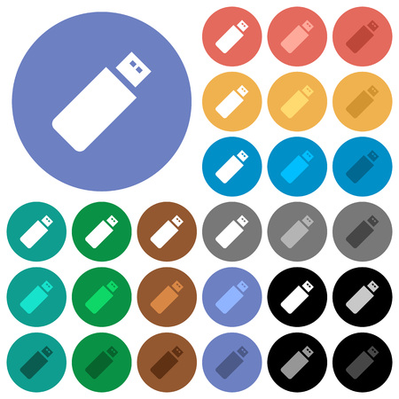 Pendrive multi colored flat icons on round backgrounds. Included white, light and dark icon variations for hover and active status effects, and bonus shades on black backgounds.