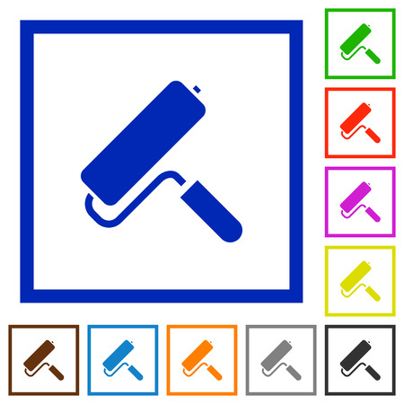 Paint roller flat color icons in square frames on white background