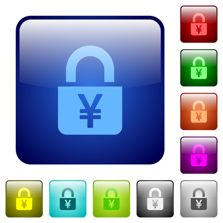 Locked Yens icons in rounded square color glossy button set Illustration