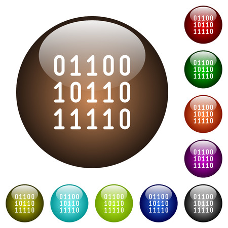 Binary code white icons on round color glass buttons