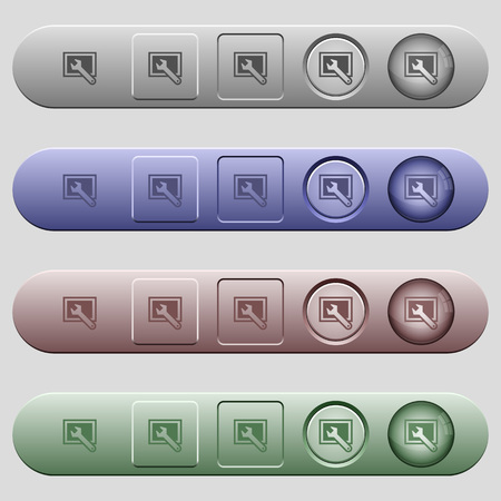 preset: Screen settings icons on rounded horizontal menu bars in different colors and button styles Illustration