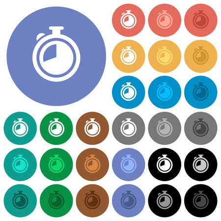 polychrome: Timer multi colored flat icons on round backgrounds. Included white, light and dark icon variations for hover and active status effects, and bonus shades on black backgounds. Illustration