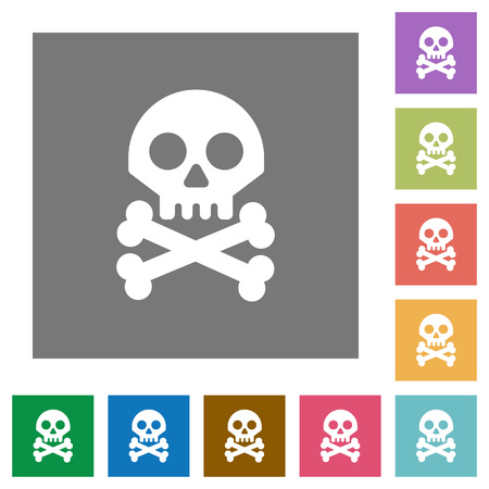 Skull with bones flat icons on simple color square backgrounds Ilustracja