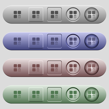 erased: Delete component icons on rounded horizontal menu bars in different colors and button styles