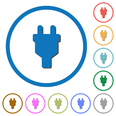 Power connector flat color vector icons with shadows in round outlines on white background Illustration