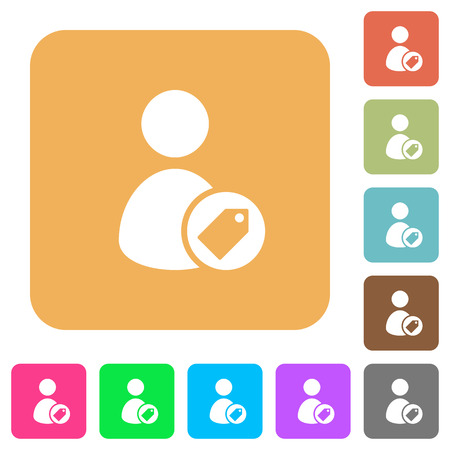 tagging: Tagging user flat icons on rounded square vivid color backgrounds. Illustration