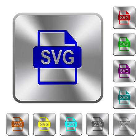 svg: SVG file format engraved icons on rounded square glossy steel buttons Illustration