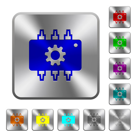 Hardware settings engraved icons on rounded square glossy steel buttons Illustration